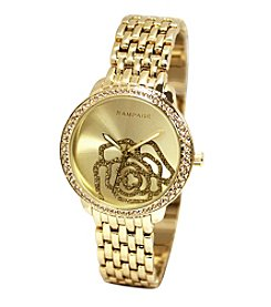 Rampage® Sparkly Rose Dial Goldtone Bracelet Watch