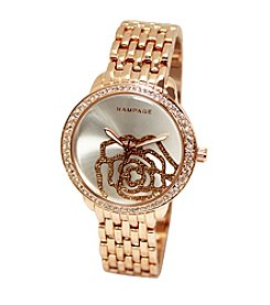 Rampage® Sparkly Rose Dial Rose Goldtone Bracelet Watch