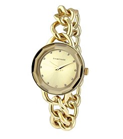 Rampage® Faceted Crystal Goldtone Chain Link Watch
