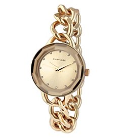 Rampage® Faceted Crystal Rose Goldtone Chain Link Watch