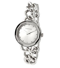 Rampage® Faceted Crystal Silvertone Chain Link Watch