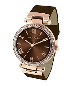 Rampage® Rose Goldtone Crystal Bezel Brown Strap Watch