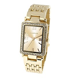 Rampage® Goldtone Crystal Bezel Rectangular Bracelet Watch