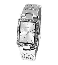 Rampage® Silvertone Crystal Bezel Rectangular Bracelet Watch