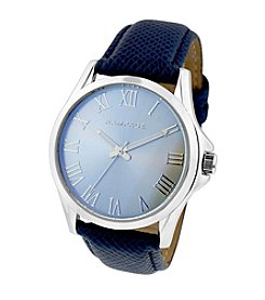 Rampage® Silvertone Laser Glass Navy Strap Watch