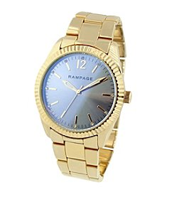 Rampage® Goldtone Fluted Bezel and Laser Glass Bracelet Watch