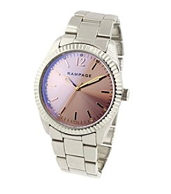 Rampage® Silvertone Fluted Bezel and Laser Glass Bracelet Watch