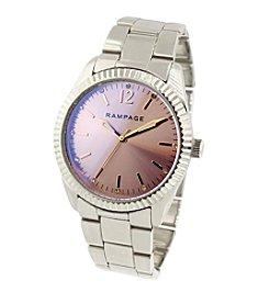 Rampage® Silvertone Fluted Bezel and Laser Glass Bracelet Watch