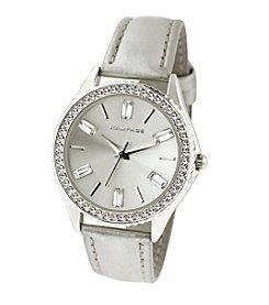 Rampage® Crystal Bezel & Dial Silvertone Silver Strap Watch