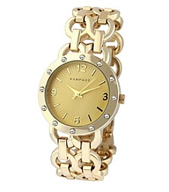 Rampage® Goldtone Double Chain Crystal Accent Bracelet Watch