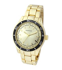 Rampage® Goldtone Black Aluminum Bezel Sport Fashion Watch
