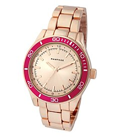 Rampage® Rose Goldtone Pink Aluminum Bezel Sport Fashion Watch