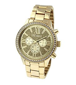 Rampage® Goldtone Boyfriend Glitter Dial and Crystal Bezel Bracelet Watch