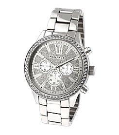 Rampage® Silvertone Boyfriend Glitter Dial and Crystal Bezel Bracelet Watch