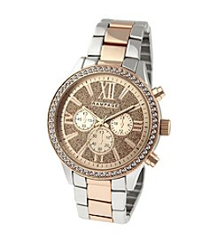 Rampage® Two-Tone Rose Boyfriend Glitter Dial and Crystal Bezel Bracelet Watch