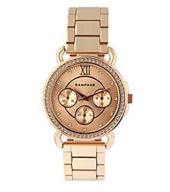 Rampage® Rose Goldtone Crystal Bezel Chrono Watch