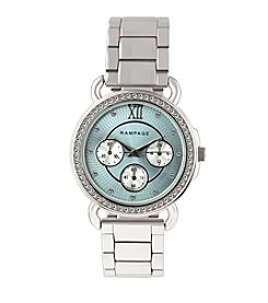 Rampage® Silvertone Crystal Bezel Chrono Watch