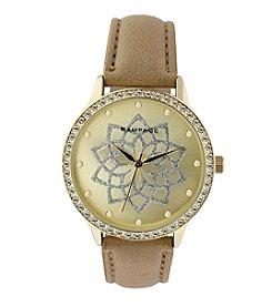 Rampage® Goldtone Crystal Bezel Glitter Flower Dial Dark Beige Strap Watch