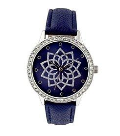 Rampage® Silvertone Crystal Bezel Glitter Flower Dial Navy Blue Strap Watch