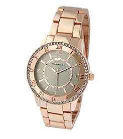 Rampage® Rose Goldtone Crystal Bezel & Roman Numeral Accent Bracelet Watch