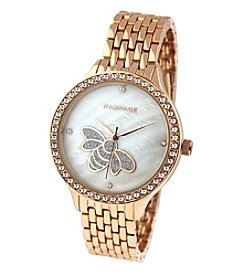 Rampage® Rose Goldtone Crystal Accent Mother of Pearl Bee Accent Dial Bracelet Watch