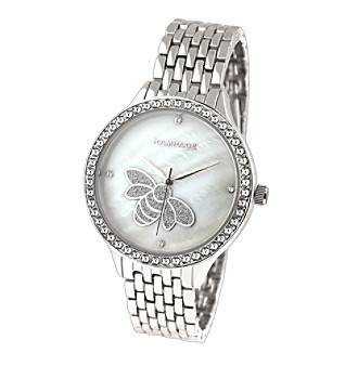 Rampage® Silvertone Crystal Accent Mother of Pearl Bee A