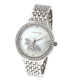 Rampage® Silvertone Crystal Accent Mother of Pearl Bee Accent Dial Bracelet Watch