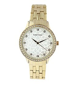 Rampage® Goldtone Flower Pattern Mother of Pearl Dial and Crystal Bezel Bracelet Watch