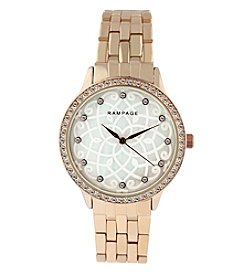 Rampage® Rose Goldtone Flower Pattern Mother of Pearl Dial and Crystal Bezel Bracelet Watch