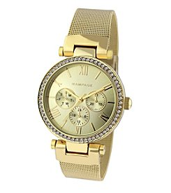 Rampage® Goldtone Mesh Crystal Bezel Watch