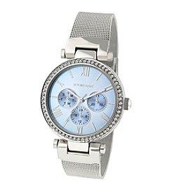 Rampage® Silvertone Mesh Crystal Bezel Watch