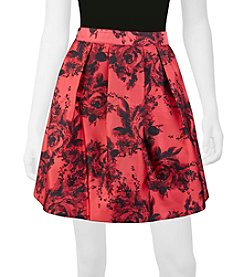 A. Byer Pleated Floral Skirt