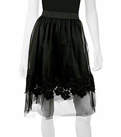 A. Byer Flower Trim Tulle Skirt