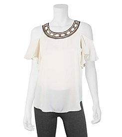 A. Byer Embellished Neck Blouse