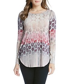 Karen Kane® Dot Long Sleeve Shirttail Tee