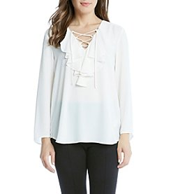 Karen Kane® Lace Up Ruffle Blouse
