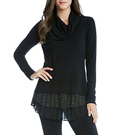 Karen Kane® Cowl Neck Sparkle Top