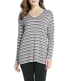 Karen Kane® Striped V-Neck Raglan Sleeve Tee