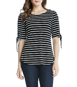 Karen Kane® Striped Lace Up Sleeve Top