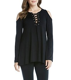 Karen Kane® Lace Up Cold Shoulder Top