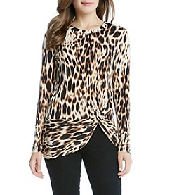 Karen Kane® Blurred Cheetah Side Twist Top