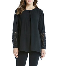 Karen Kane® Black Lace Handkerchief Top