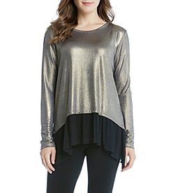 Karen Kane® Sheer Hem Handkerchief Top