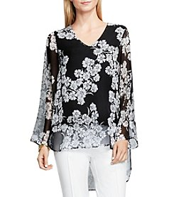 Vince Camuto® Bell Sleeve Mixed Media Top