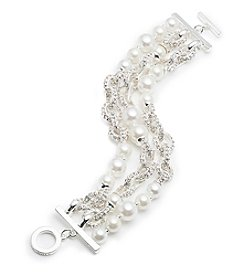 Anne Klein® Pearl Three Row Bracelet