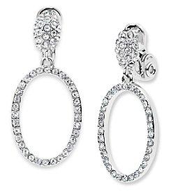 Anne Klein® Crystal Hoop Clip On Drop Earrings