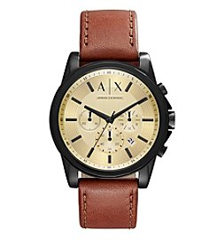 A|X Armani Exchange Outerbanks Leather Strap Chronograph Watch