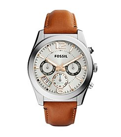 Fossil® Perfect Boyfriend Stainless Steel Leather Strap Watch