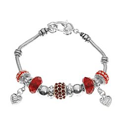 L&J Accessories Pave Heart Charm Bracelet
