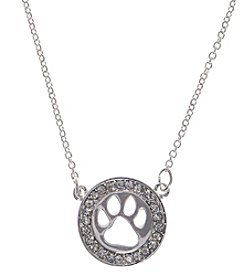 Pet Friends™ Crystal Circle Paw Print Necklace